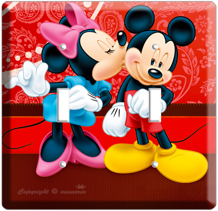 Details about MICKEY MOUSE & MINNIE KISSING DOUBLE LIGHT SWITCH PLATE