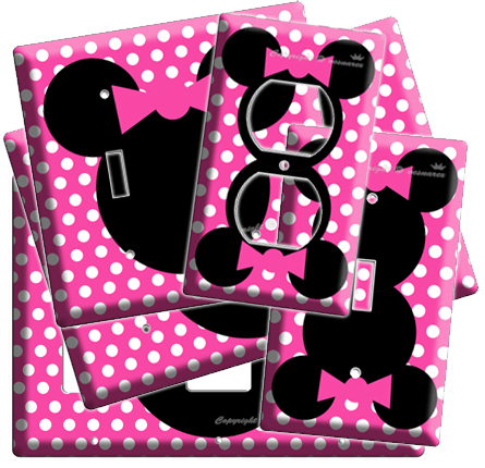 New Minnie Mouse Head Pink Polka Dots Kids Girls Room Decor Light Switch Outlet Ebay