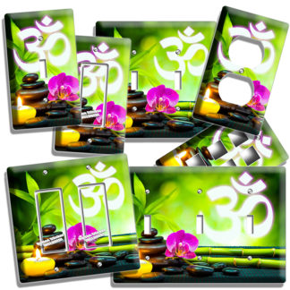 om yoga symbol feng shui stones lucky bamboo orchid flower and candle light switch / outlet wall plates room home studio decor  sc 1 st  vesnar.com & feng shui stones bamboo om symbol yoga light switch outlet wall ...